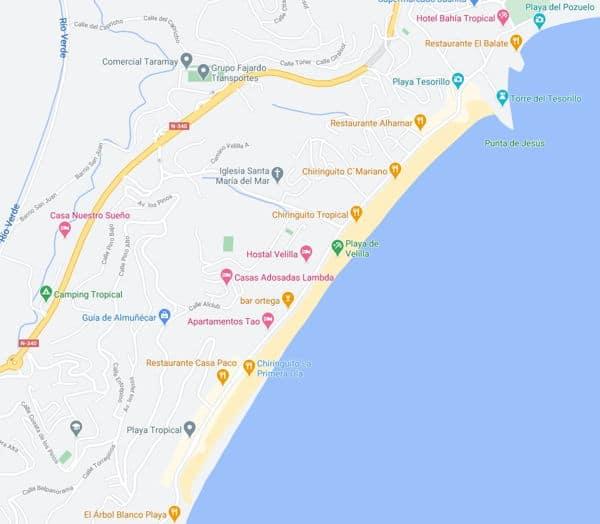 Localización playa velilla